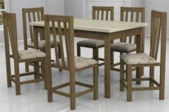 Imagem - Mesa Itália com 6 Cadeiras Itália Móveis Dolimar Inovata Tampo Teka cód: 2812