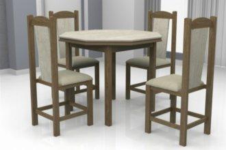 Imagem - Mesa Romana Tampo Oitavado Teka MDF com 4 Cadeiras Rubi Móveis Dolimar Inovata cód: 2811