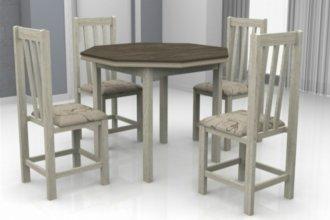 Imagem - Mesa Romana Tampo Oitavado Wengue MDF com 4 Cadeiras Itália Móveis Dolimar Teka  cód: 2810