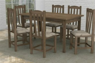 Imagem - Mesa Rústica Madeira Maciça com 6 Cadeiras Rubi Móveis Dolimar Rústico cód: 2807