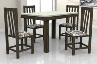 Imagem - Mesa Verona Tampo Elmo Dubai MDF 4 Cadeiras Itália Móveis Dolimar Wengue cód: 2804