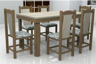 Imagem - Mesa Verona Tampo Teka MDF 6 Cadeiras Rubi Móveis Dolimar Inovata cód: 2802