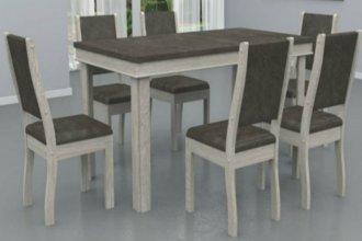 Imagem - Mesa Verona Tampo Wengue MDF 6 Cadeiras Dallas Móveis Dolimar Teka cód: 2801