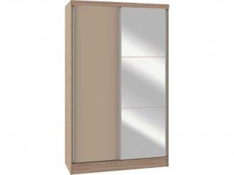 Imagem - Guarda Roupa Castro Requinte 02 Portas Deslizantes Com Espelho UV Colado Amêndoa Gris 100% MDF cód: 35970