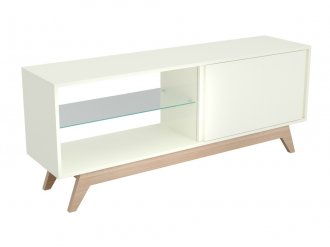 Imagem - Rack Dalla Costa R414 01 Porta de correr Off White e Natural cód: 34340