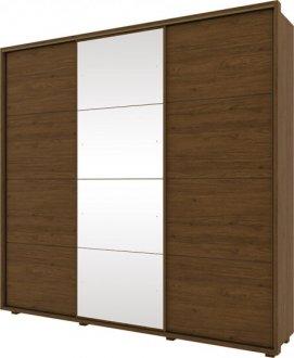 Imagem - Guarda Roupa Henn Colina 03 Portas Deslizantes C/ 01 Espelho Castanho HP cód: 36916