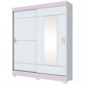 Imagem - Guarda Roupa Briz 2 Portas Deslizantes 1 Espelho Branco/Branco e Rosa cód: 35452