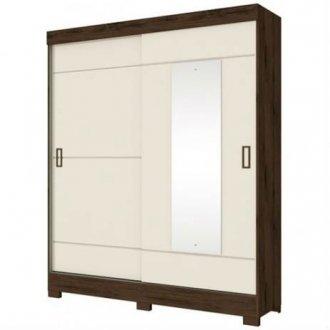 Imagem - Guarda Roupa Briz 2 Portas Deslizantes 1 Espelho Café Off White cód: 35454