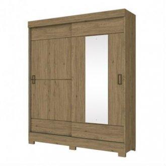 Imagem - Guarda Roupa Briz 2 Portas Deslizantes 1 Espelho Rústico cód: 35453