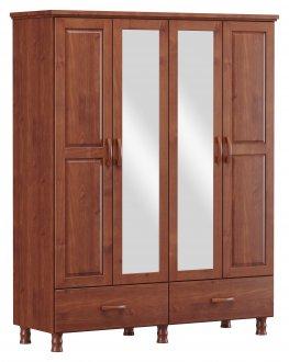Imagem - Roupeiro 4 Portas 2 Gavetas e 1 Espelho Finestra Linha Bronze Cor Imbuia cód: 7898414069940