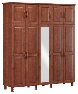 Imagem - Roupeiro Bipartido 10 Portas 3 Gavetas e 1 Espelho Finestra Linha Bronze Cor Imbuia cód: 7898414069936
