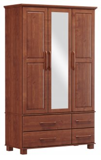 Imagem - Roupeiro Bipartido 3 Portas 4 Gavetas e 1 Espelho Finestra Linha Ouro Cor Imbuia cód: 7898414069928