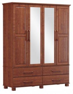 Imagem - Roupeiro Bipartido 4 Portas 4 Gavetas e 2 Espelhos Finestra Linha Ouro Cor Imbuia cód: 7898414069929