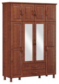Imagem - Roupeiro Bipartido 8 Portas 2 Gavetas e 2 Espelhos Finestra Linha Bronze Cor Imbuia cód: 7898414069934