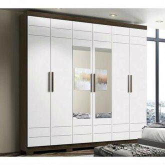 Imagem - Guarda Roupa Henn Flora 6 Portas 2 Espelhos Café Branco cód: 35304