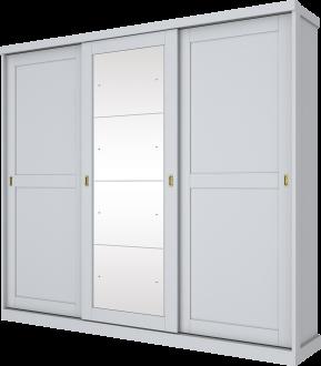 Imagem - Guarda Roupa Olympia Henn 03 Portas Com Espelho Deslizantes Branco Hp cód: 35270