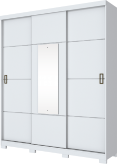 Imagem - Guarda Roupa Henn Silver 3 Portas De Correr 1 Espelho Branco cód: 35281