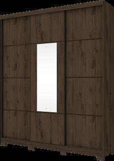 Imagem - Guarda Roupa Henn Silver 03 Portas Deslizantes 1 Espelho Café cód: 35283