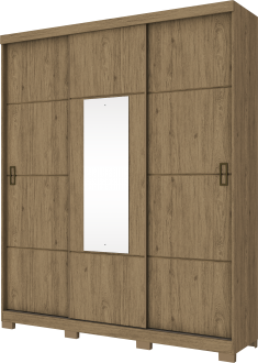 Imagem - Guarda Roupa Henn Silver 3 Portas de Correr 1 Espelho Rústico cód: 35282