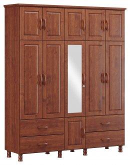 Imagem - Roupeiro Tripartido 11 Portas 4 Gavetas e 1 Espelho Finestra Linha Bronze Cor Imbuia cód: 7898414069933
