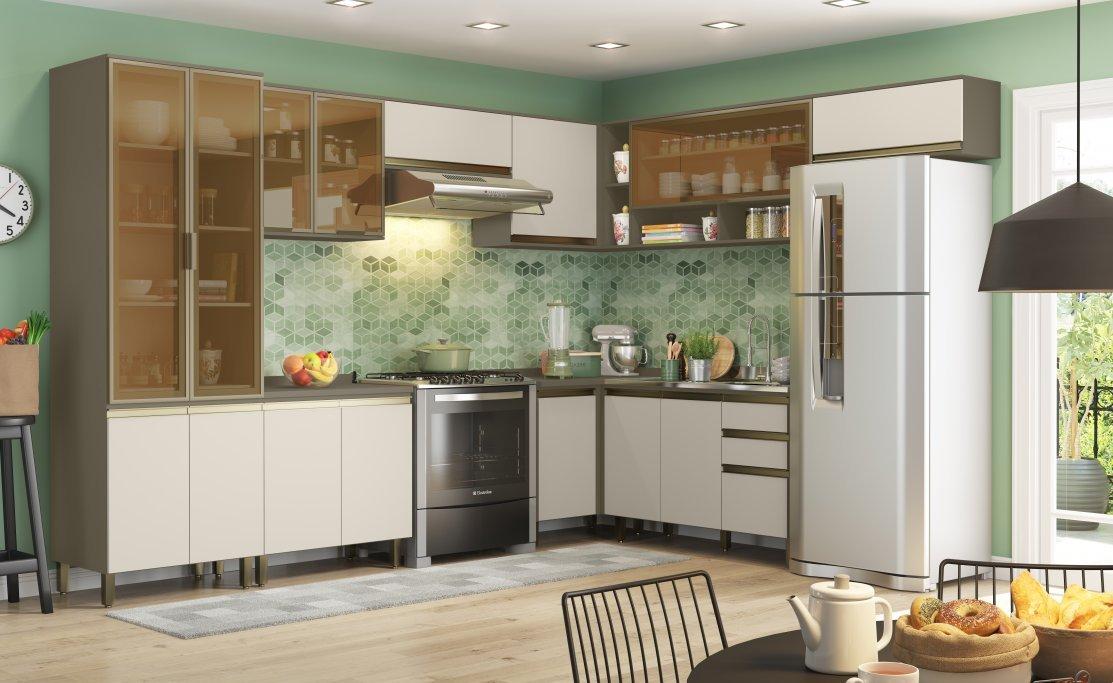 Cozinha Modulada Henn Connect com Vidro 11 Peças Duna