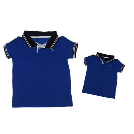 c25e318937f0c Kit 2 peças Camisa Gola Polo Azul Royal gola marinho Pai e Filho - Imagem 2