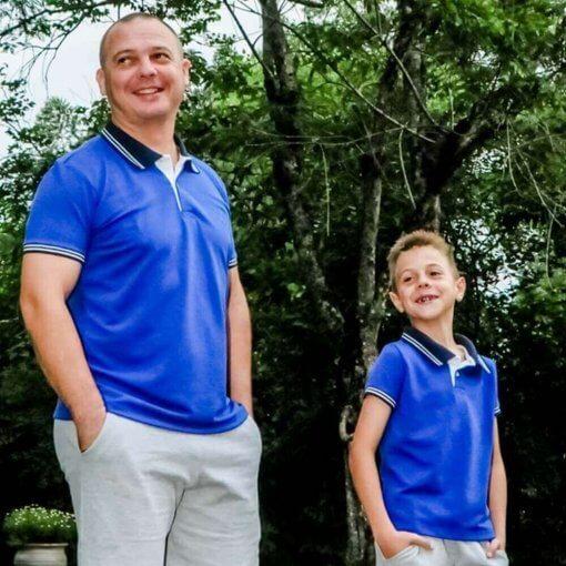 ae942c7be17c2 Kit 2 peças Camisa Gola Polo Azul Royal gola marinho Pai e Filho - Imagem 1