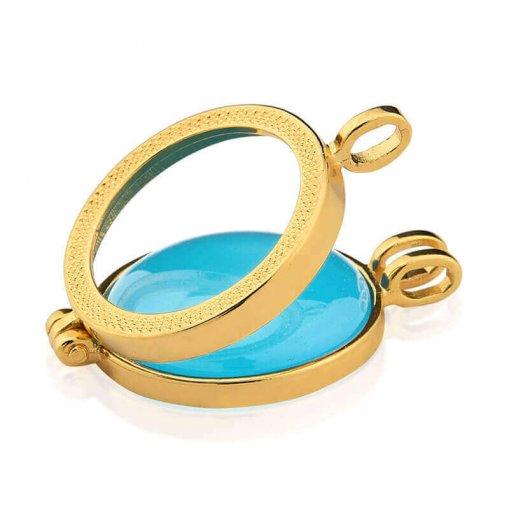 0522-Pingente Capsula folheada a ouro