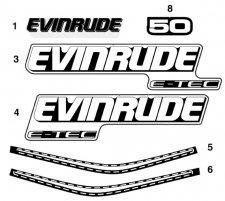 Jogo de Adesivo motor Evinrude 50 hp