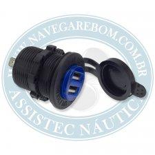 TOMADA USB (SOQUETE) 12-24V PRETO 2 ENTRADAS