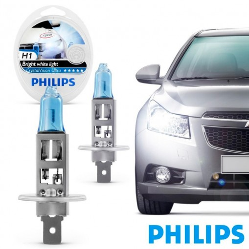 Farol Lâmpada Automotiva H1 Crystal Vision Ultra 4300K Philips