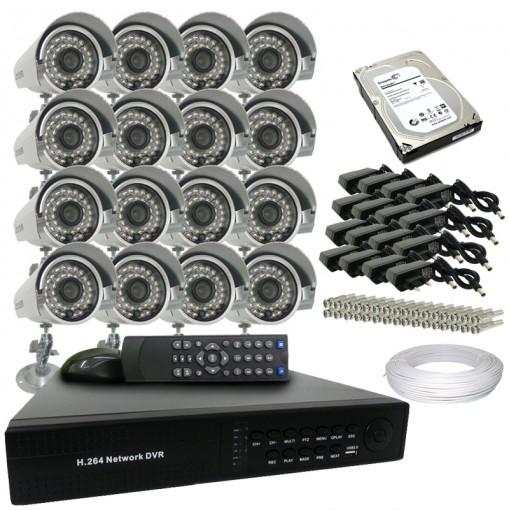 Kit 16 Câmeras de Segurança Infra 700TVL Dvr 16 Canais Acesso Remoto via Celular + HD 1 TB CF1601