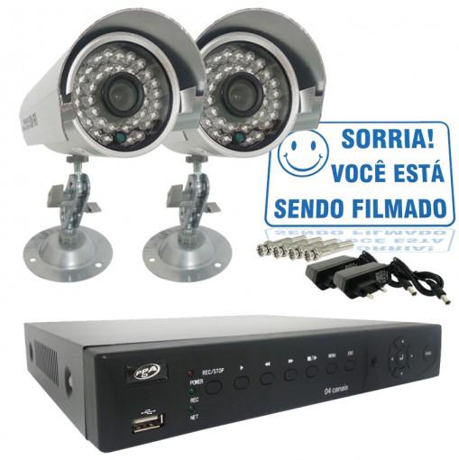 Kit 2 Câmeras Infra 700TVL e Dvr 4 Canais Com Acesso Remoto Via Celular + Fonte e Conector BNC CF405