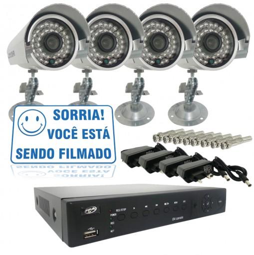 Kit 4 Câmeras de Segurança Infra 700TVL e Dvr Stand alone 4 Canais Com Acesso via Celular + Fonte e Conector BNC CF401