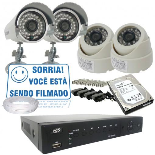 Kit 4 Câmeras de Segurança Infra 700TVL e Dvr Stand Alone 4 Canais Com Acesso via Celular + HD CF402