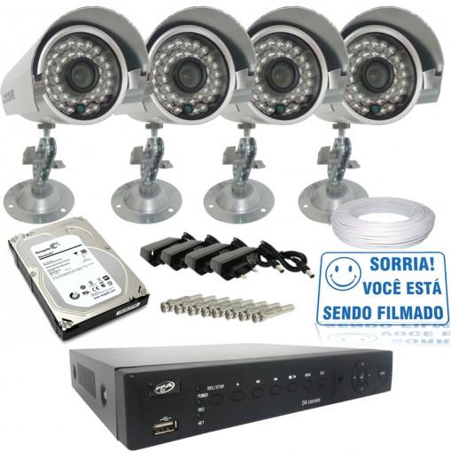 Kit 4 Câmeras de Segurança Infra IR CCD 700TVL e Dvr Stand Alone 4 Canais Com Acesso Remoto Via Celular + HD 1TB CF407