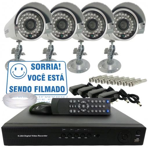 Kit 4 Câmeras de Segurança IR Infra 700TVL e Dvr Stand Alone 8 Canais Com Acesso Via Celular + Fonte e Cabo CF803