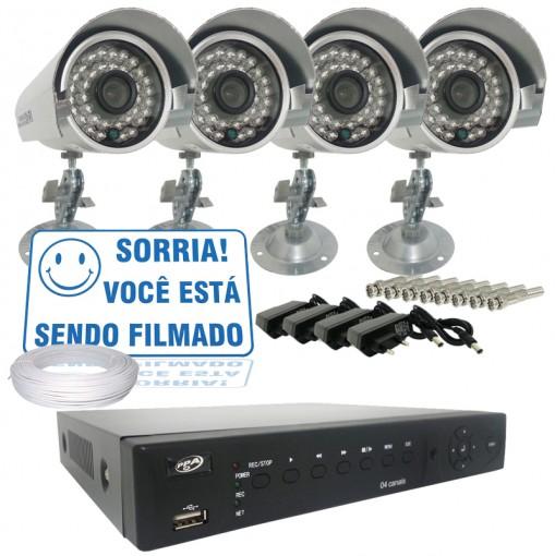 Kit 4 Câmeras Infra 700TVL Dvr Stand Alone 4 Canais Acesso Remoto Via Celular + Fonte e Cabo CF403