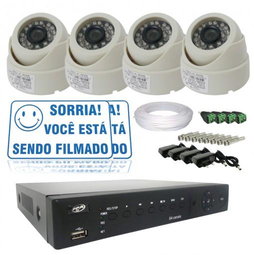 Kit 4 Câmeras IR 700Tvl DVR Stand Alone 4 Canais Acesso Remoto Via Celular + Fonte e Cabo CF101