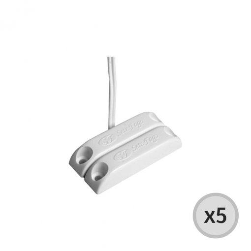 Kit 5 Sensores Magnéticos com fio de Sobrepor com Adesivo 9020