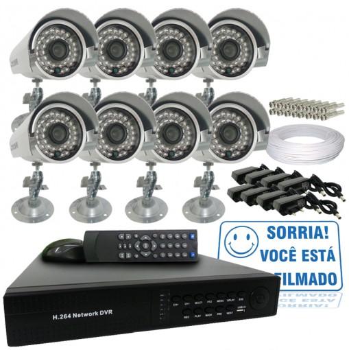 Kit 8 Câmeras Infra 700TVL Dvr Stand Alone 16 Canais Acesso Remoto via Celular + Fonte e Cabo CF1602