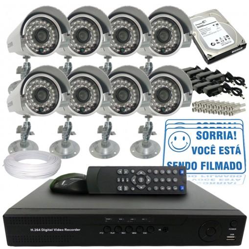 Kit 8 Câmeras de Segurança Infra IR 700TVL Dvr 8 Canais Acesso Remoto Via Celular + HD 1TB CF802