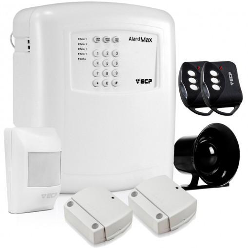 Kit Alarme Residencial e Comercial Sem Fio Alard Max 4 ECP com 3 Sensores + Discadora