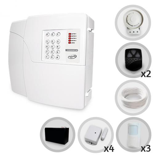 Kit Alarme Residencial Sem Fio PPA 7 Sensores Discadora + Bateria (Controles e Sensores Cadastrados)
