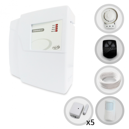 Kit Alarme Residencial ou Comercial PPA Codigus 2 com 6 Sensores sem fio (Controles e Sensores Não Cadastrados)