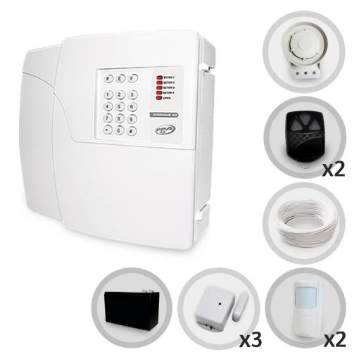 Kit Alarme Residencial Sem Fio PPA 5 Sensores Discadora + Bateria (Controles e Sensores Cadastrados)