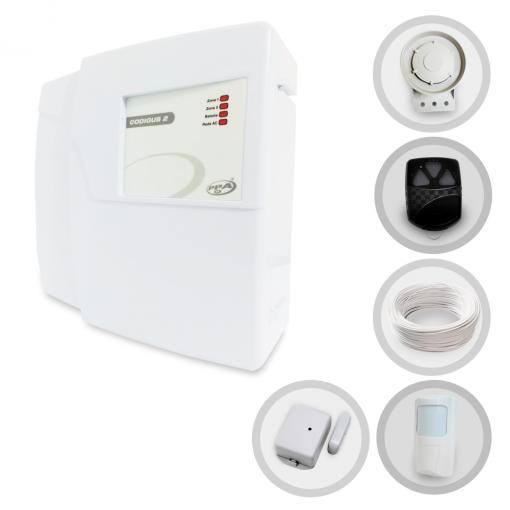 Kit Alarme Residencial PPA Codigus 2 com 2 Sensores sem fio (Controles e Sensores Já Configurados)
