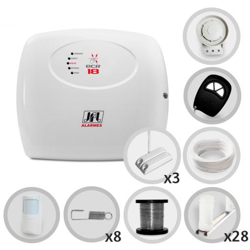 Kit Cerca Elétrica Com Alarme Ecr-18 JFL 4 Sensores Para 80 Metros (Sem Bateria)