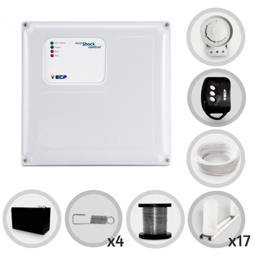 Kit Cerca Elétrica Shock Control ECP Para 50 Metros de Muro Completo (Com Bateria)
