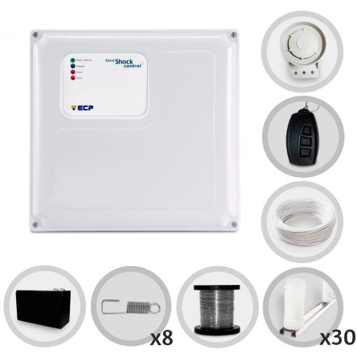 Kit Cerca Elétrica Shock Control ECP para 90 Metros de Muro (Com Bateria)